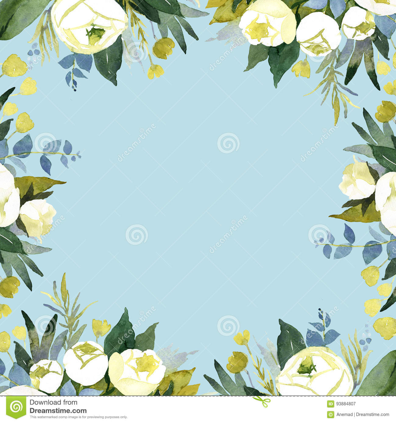 Blue Watercolor Flower Background For Wedding Decoration