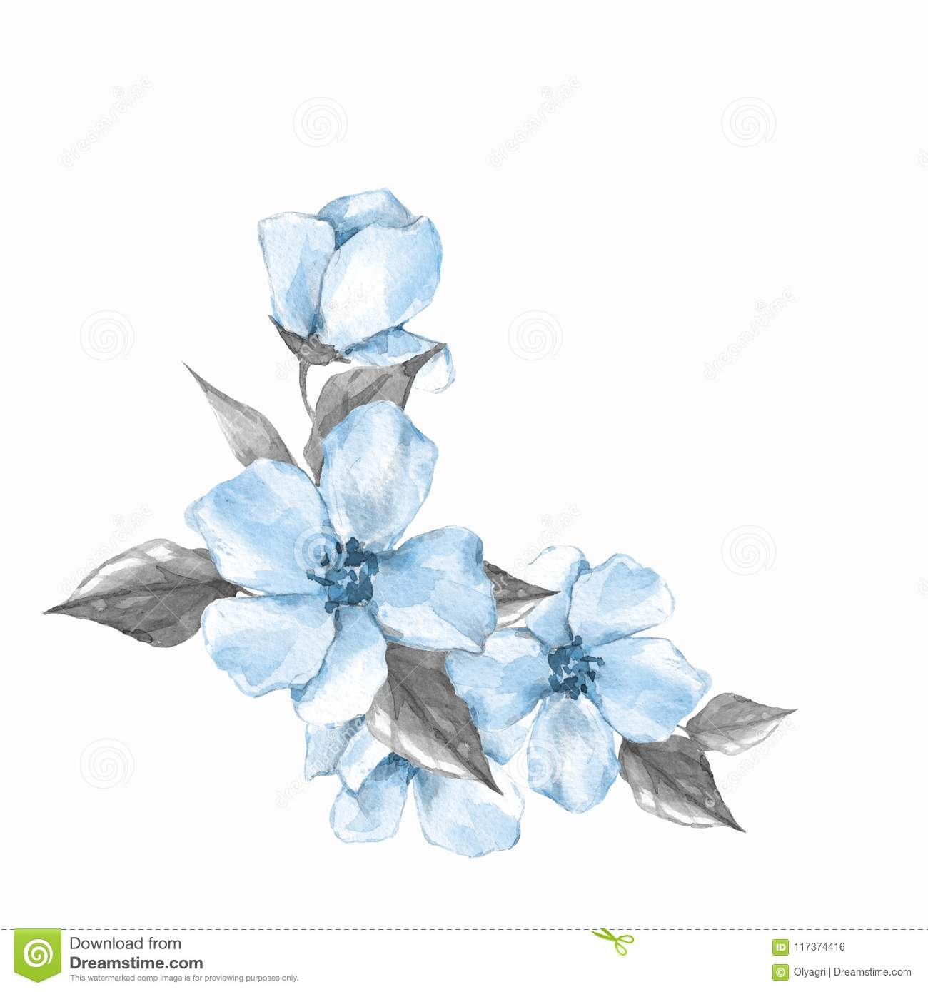 Blue Watercolor Flowers Floral Branch Stock Illustration