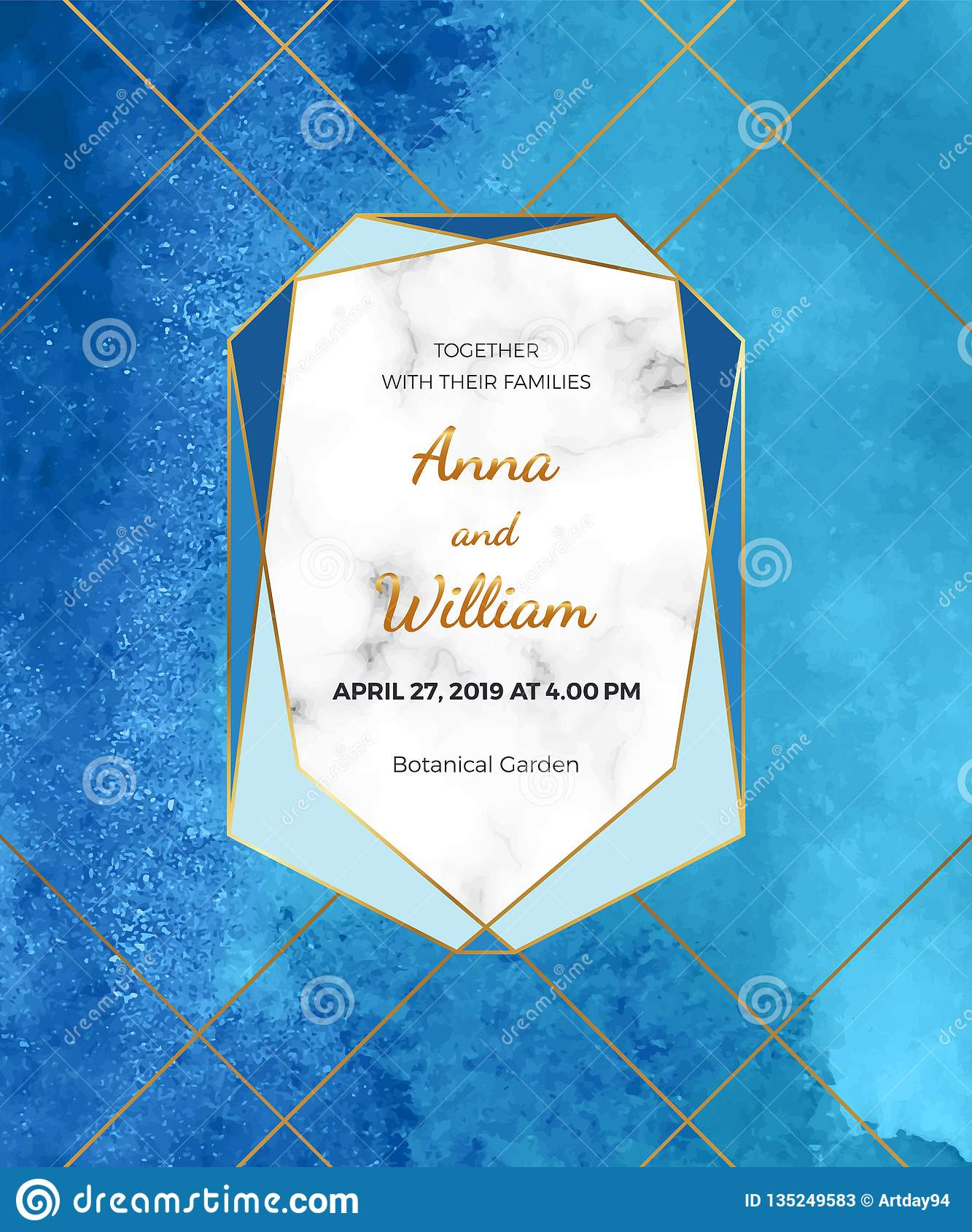 Blue Watercolor Wedding Invitation Card With Marble Frame