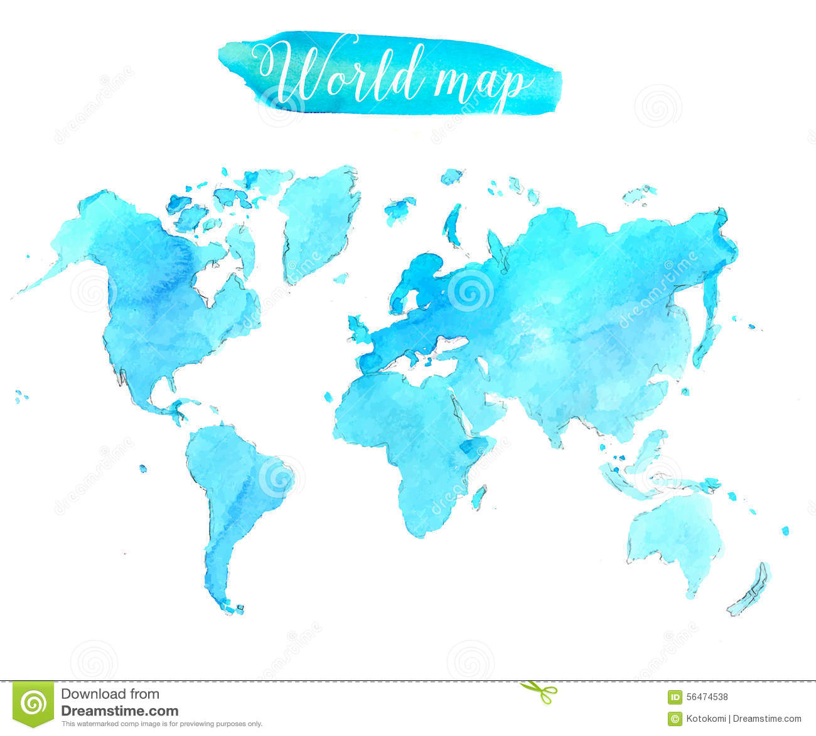 Vector world map watercolor stock vector illustration of banner blue watercolor world map vector artistic royalty free stock photos gumiabroncs Gallery