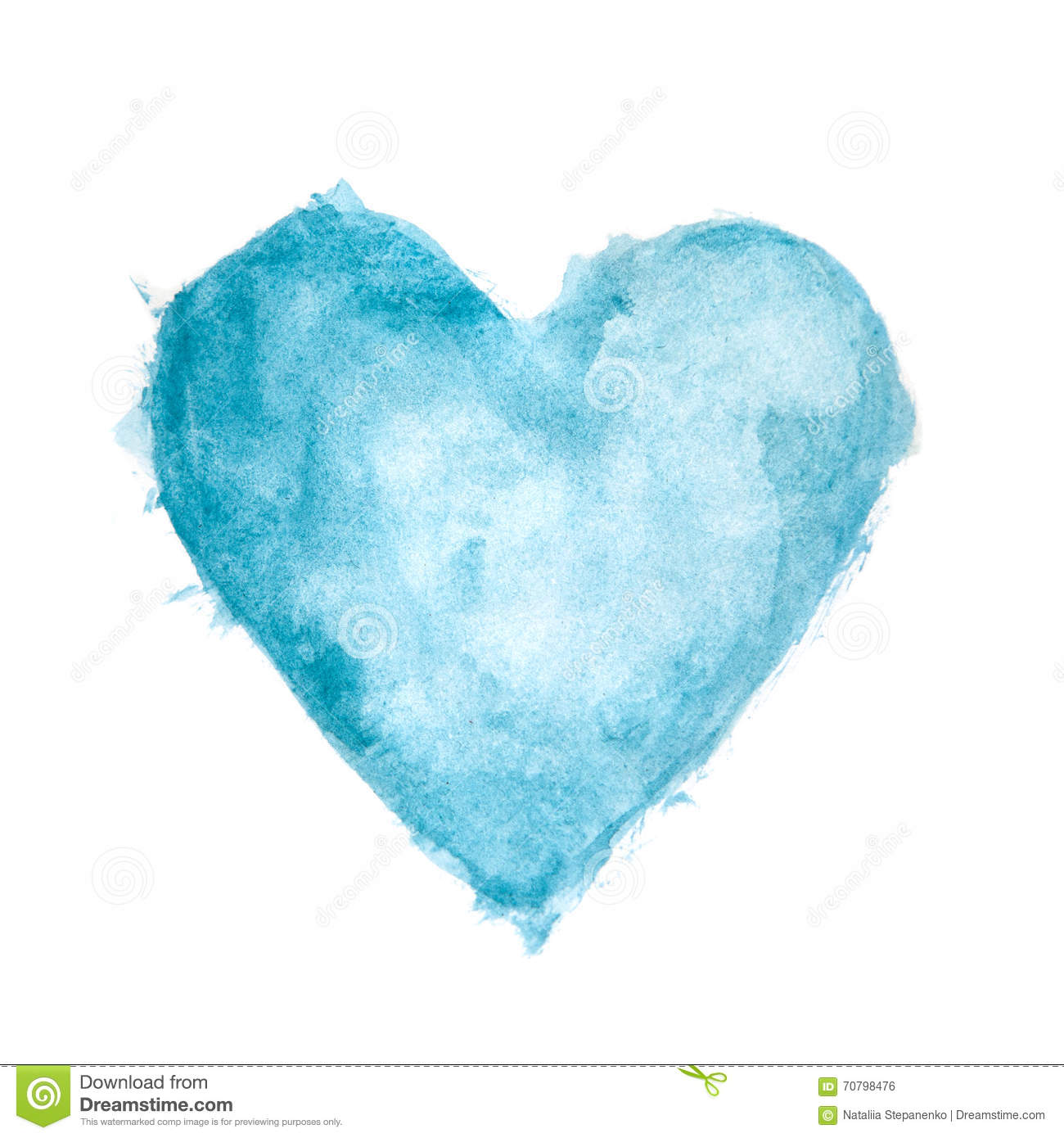 Blue Watercolour Painted Textured Heart Stock Illustration