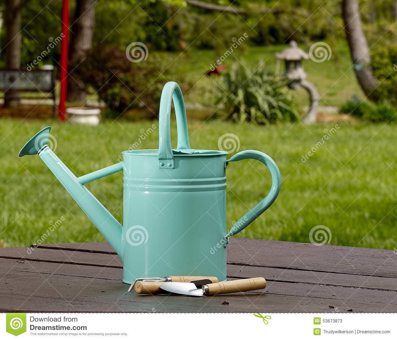 Blue watering can on table outdoors stock photo image for Gardening tools watering