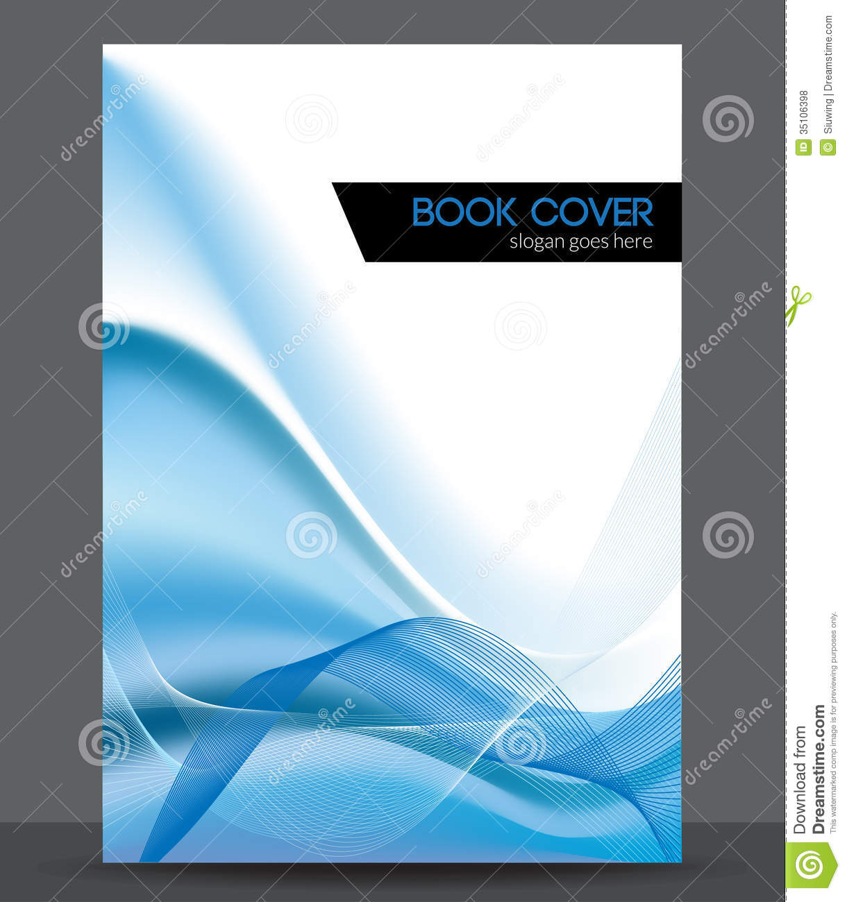 Blue wave vector brochure booklet cover design t stock for Brochure booklet templates