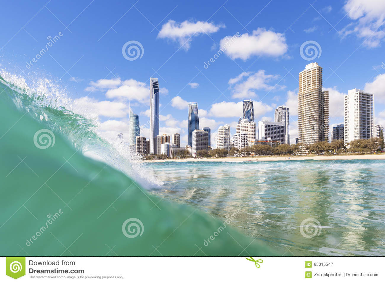 Blue waves rolling on Surfers Paradise beach