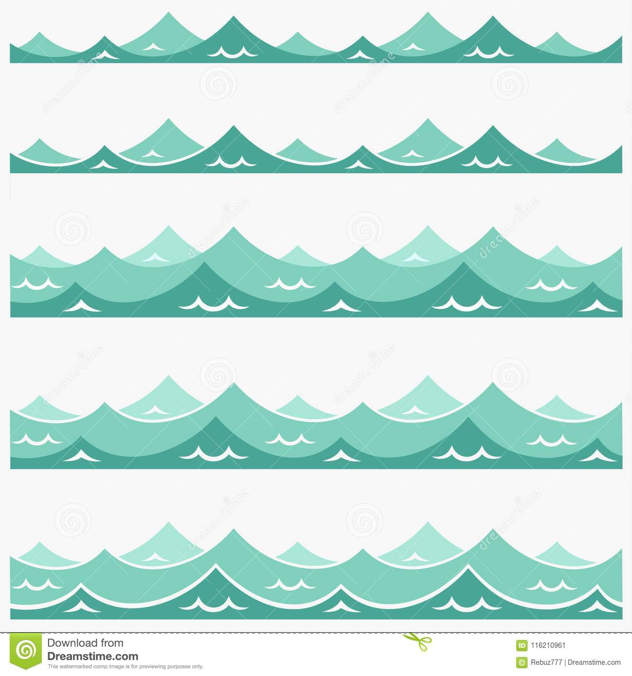 Blue Waves Sea Ocean Vector Illustration Abstract Pattern Background