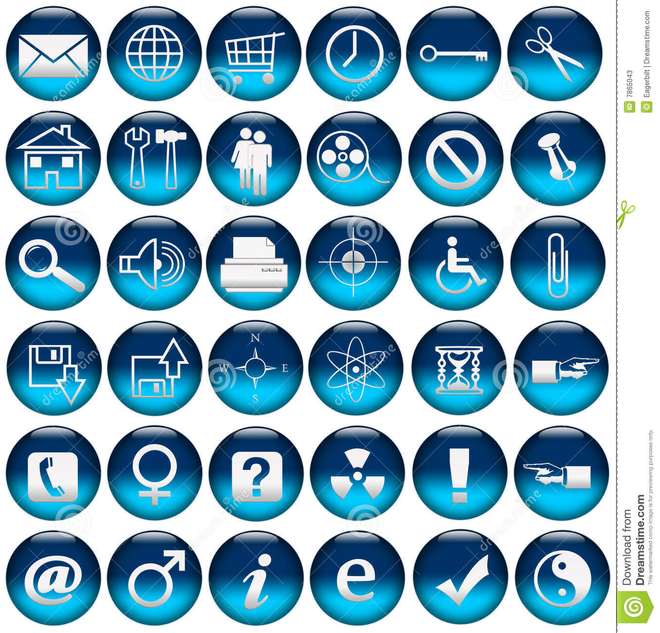 Blue Web Icons/Buttons Stock Photos - Image: 7865043
