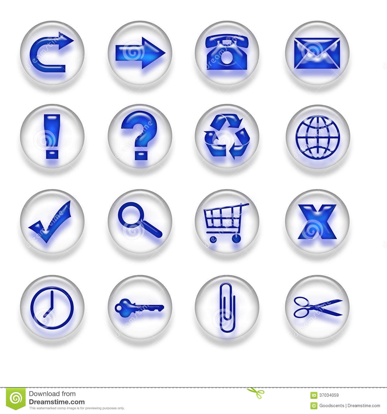 Blue Web Icons Buttons Set Part 1 Royalty Free Stock ...
