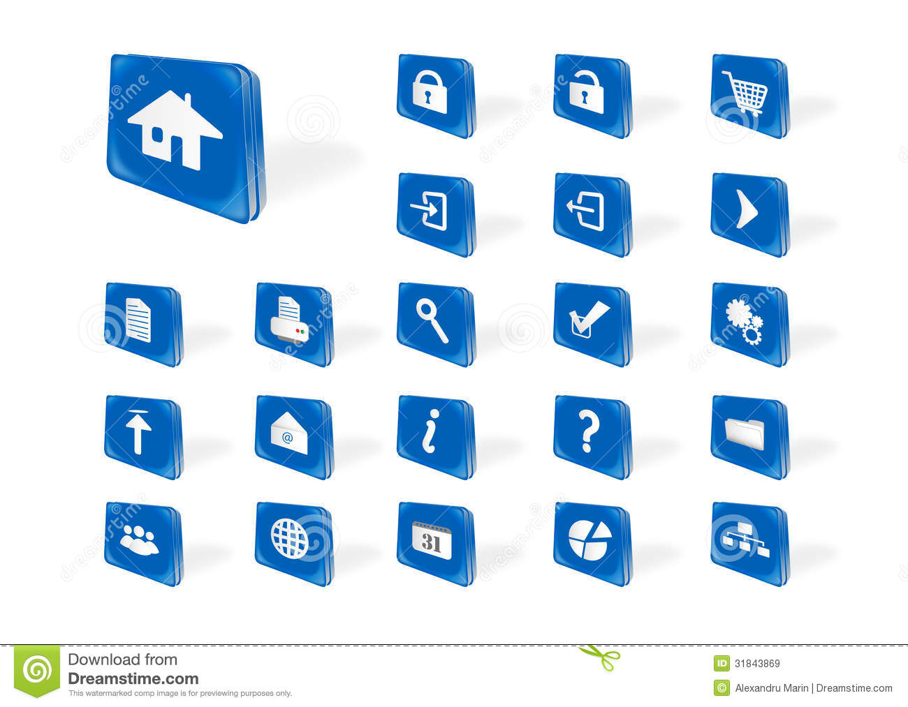 Blue Web Icons Royalty Free Stock Images - Image: 31843869