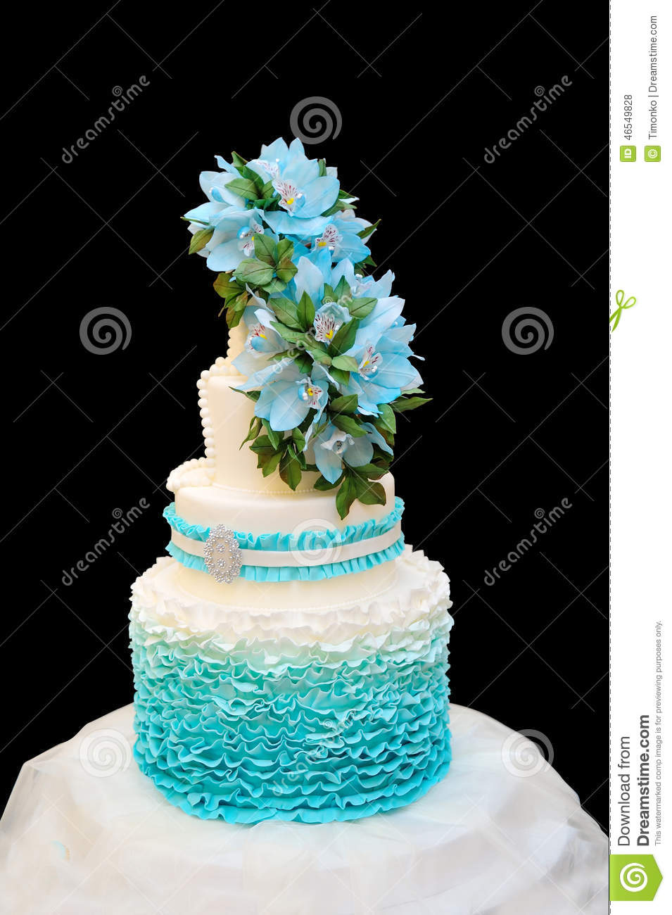 Blue Wedding Cake On A Black Background Stock Photo - Image: 46549828