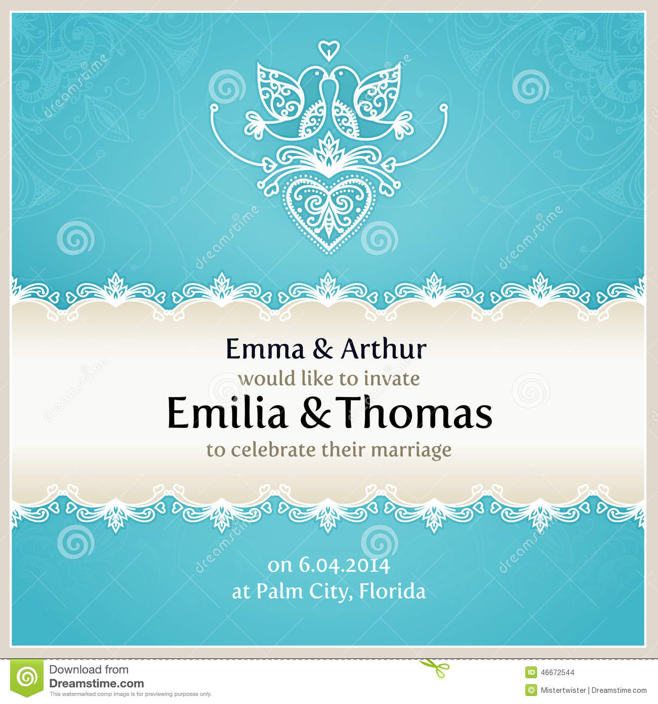 Blue Wedding Invitation Design Template. Stock Vector - Illustration ...