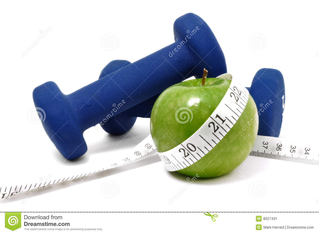 Blue Weights  Green Apple  And Tape Measure Stock Image