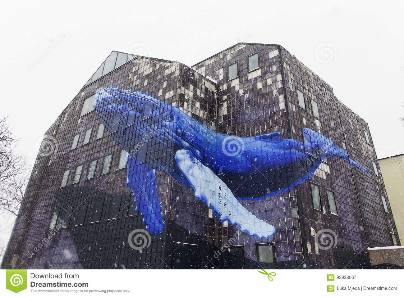 Blue Whale flying through a building