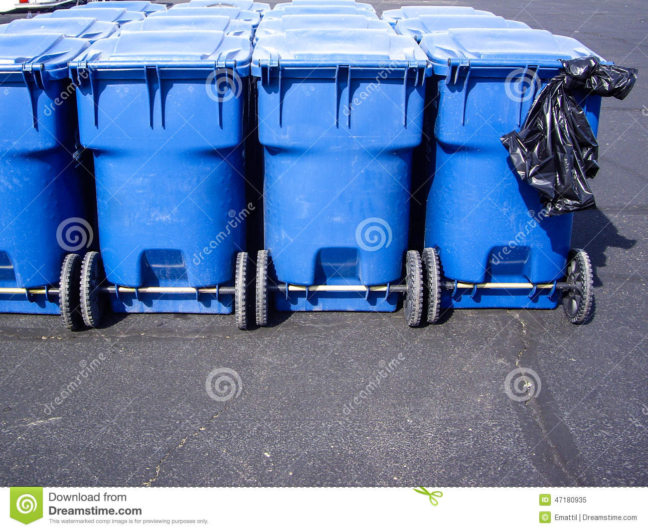 Blue Wheeled Trash Cans And Plastic Garbage Bag Stock