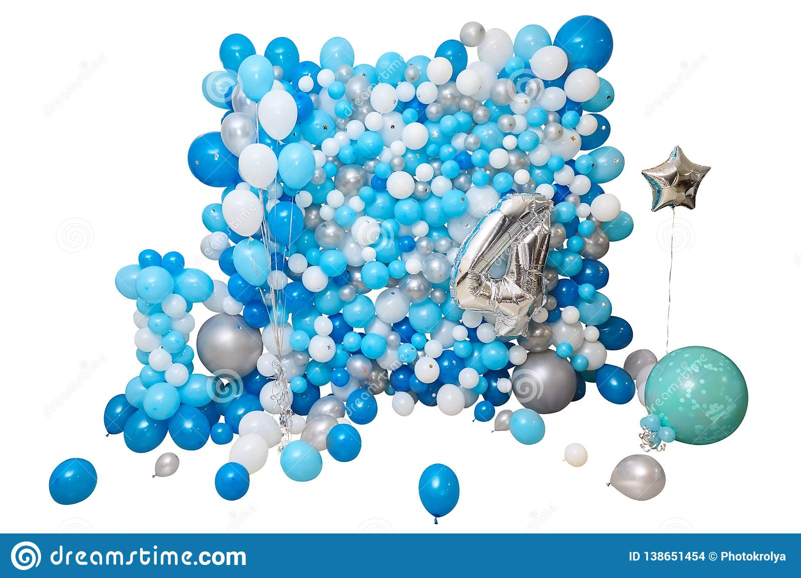 Blue And White Balloons Isolated On White Background Stock