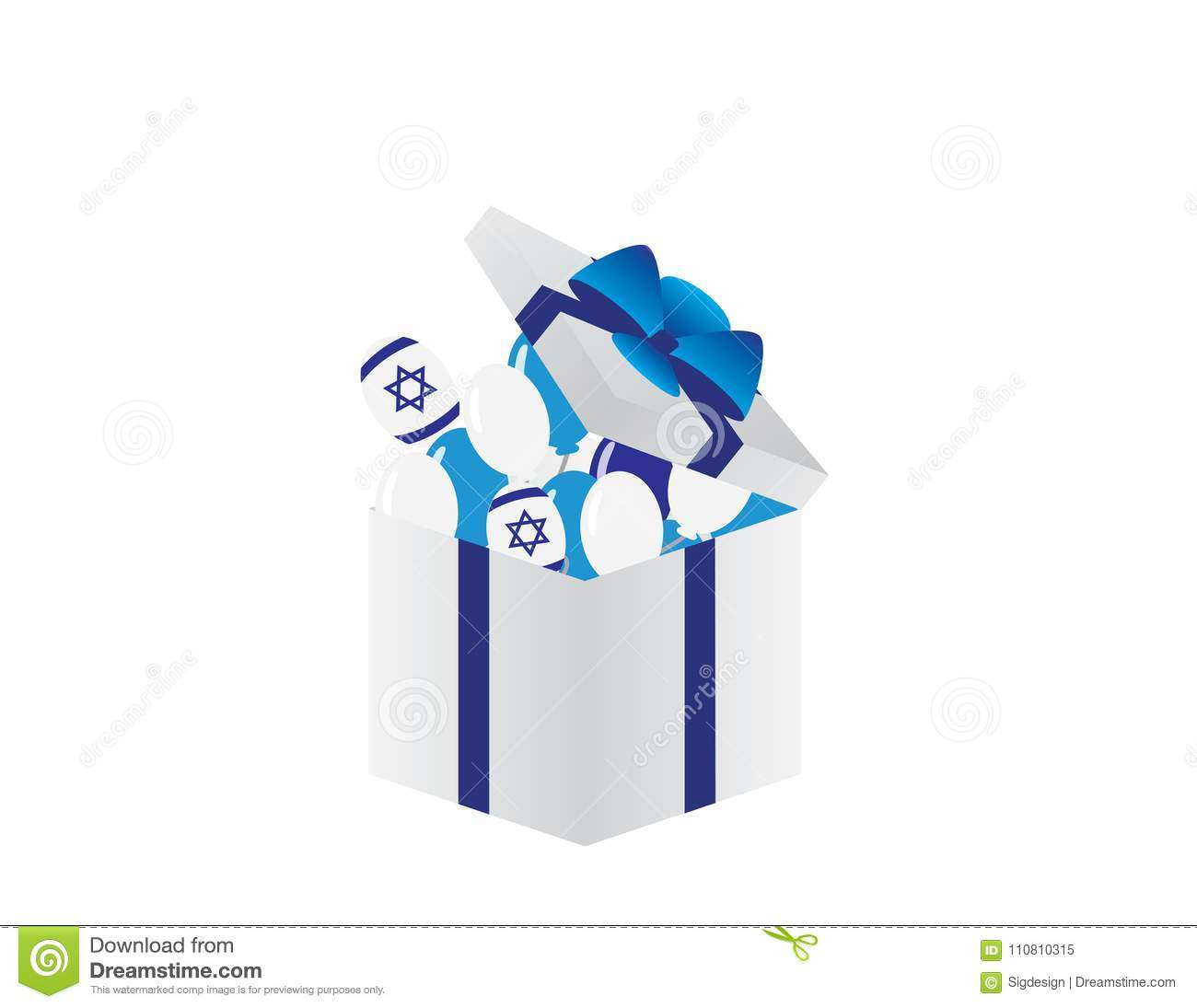 Israel Independence Day White Gift Box With Blue Ribbon Israeli Flag And Balloons