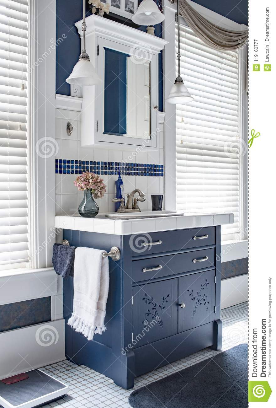 Blue White Bathroom Vanity Area With Dresser Editorial Photography Image Of Interiors Interior 119160777