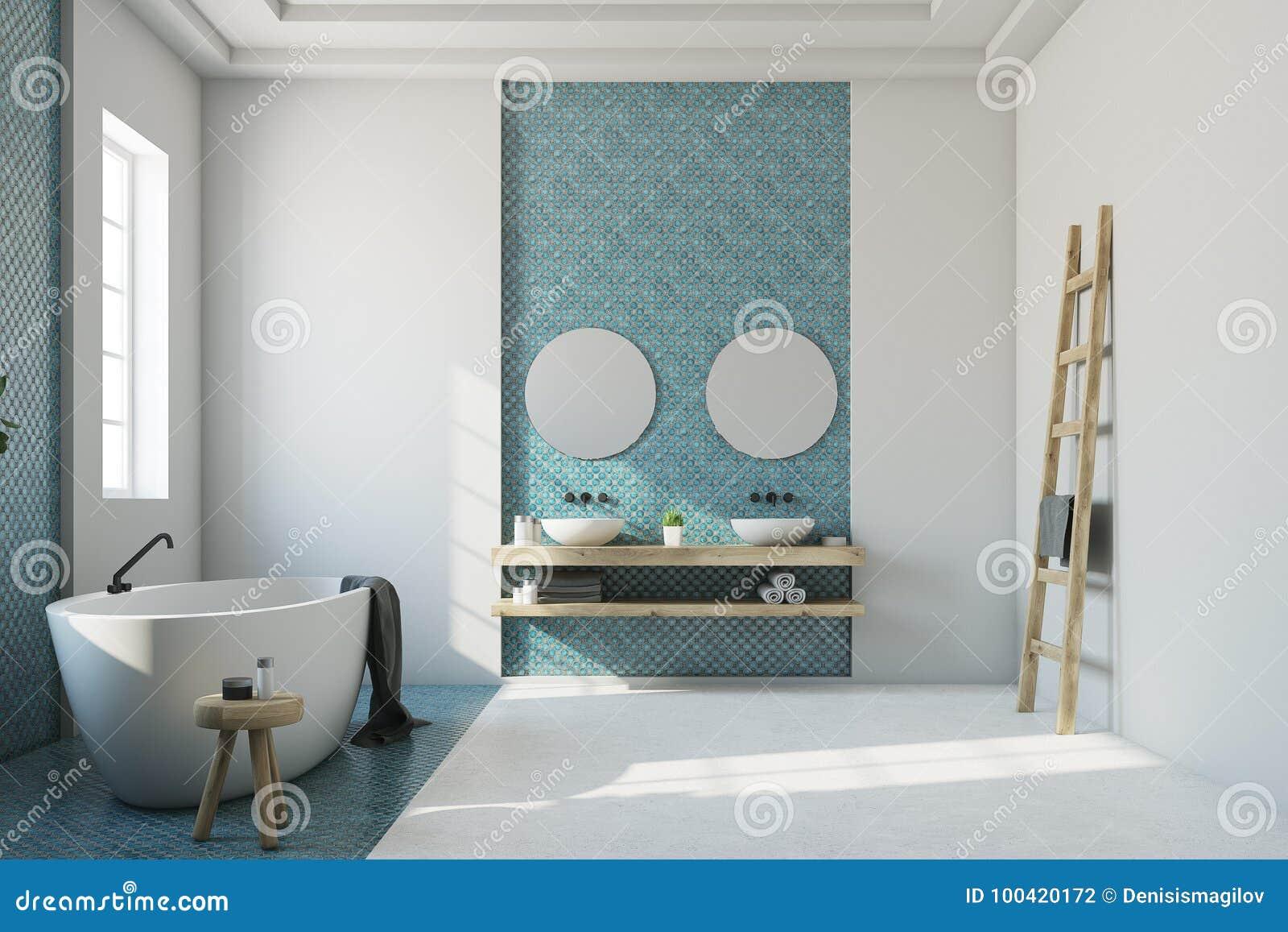 Blue And White Bathroom, White Tub, Sink Stock Illustration ...