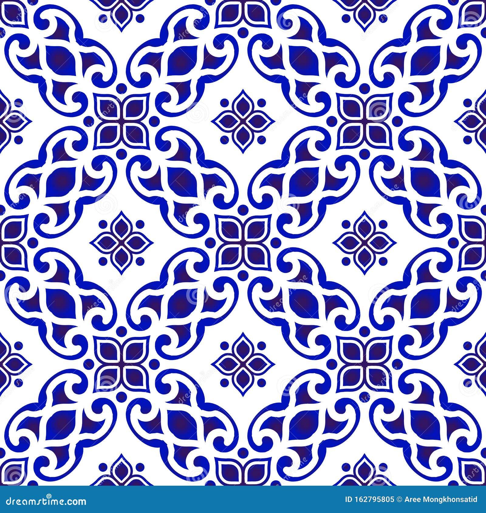 Blue And White Batik Pattern Stock Vector