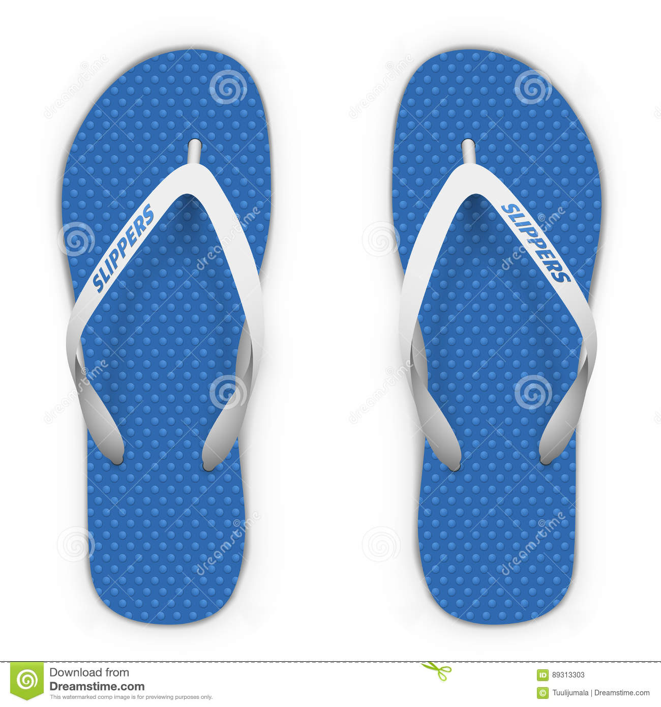 907afd9e5d956c Blue and white beach slippers isolated on white background. Flip flops top  view vector template.