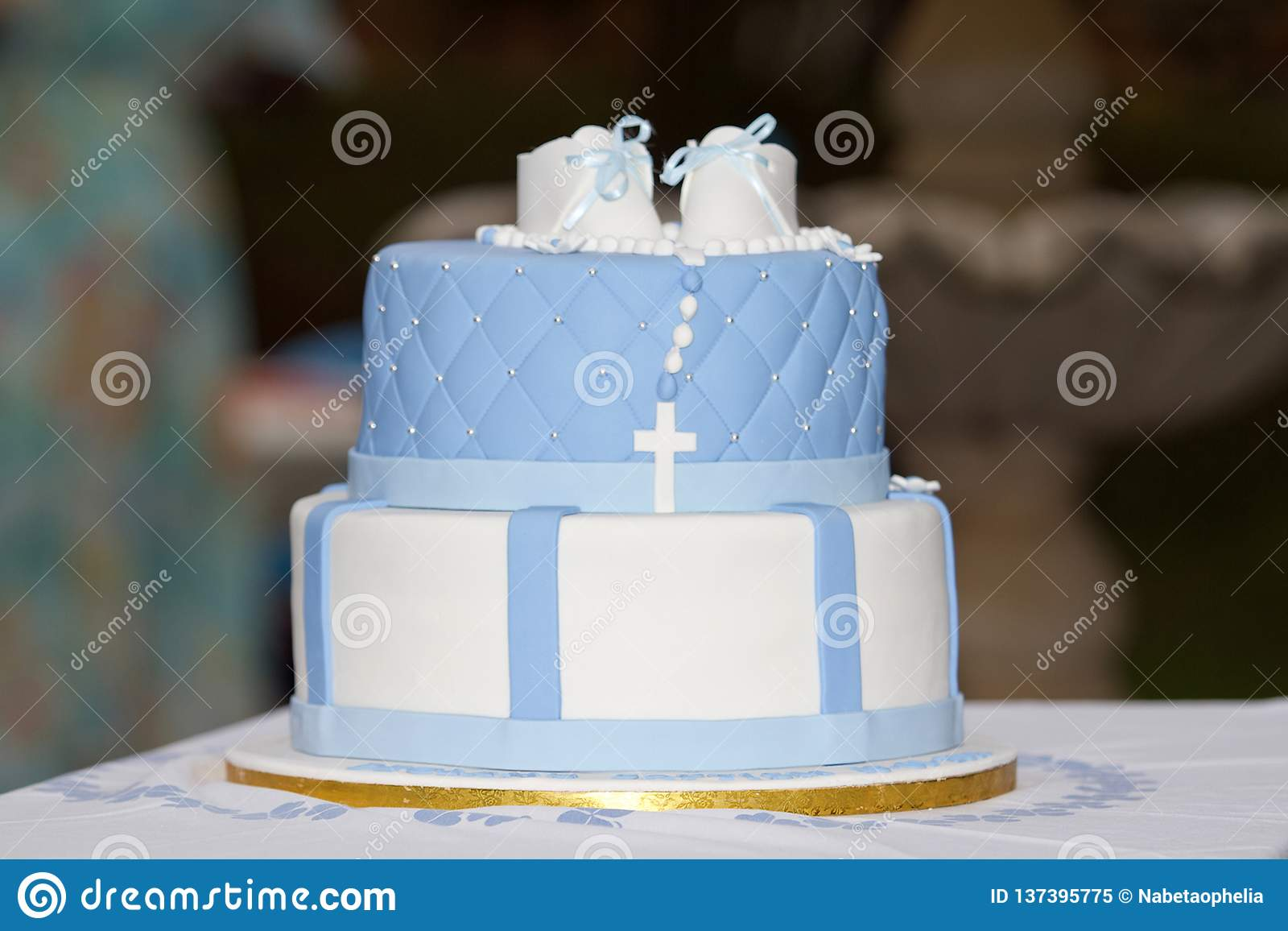Astonishing Birthday And Baptism Cake For A Boy Stock Image Image Of Funny Birthday Cards Online Chimdamsfinfo
