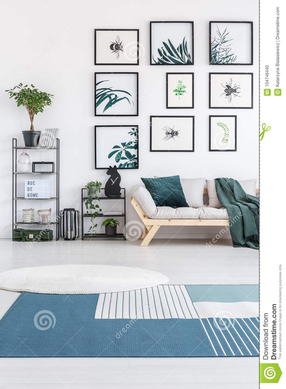 Blue and white carpet stock photo. Image of green, bedroom - 104746440