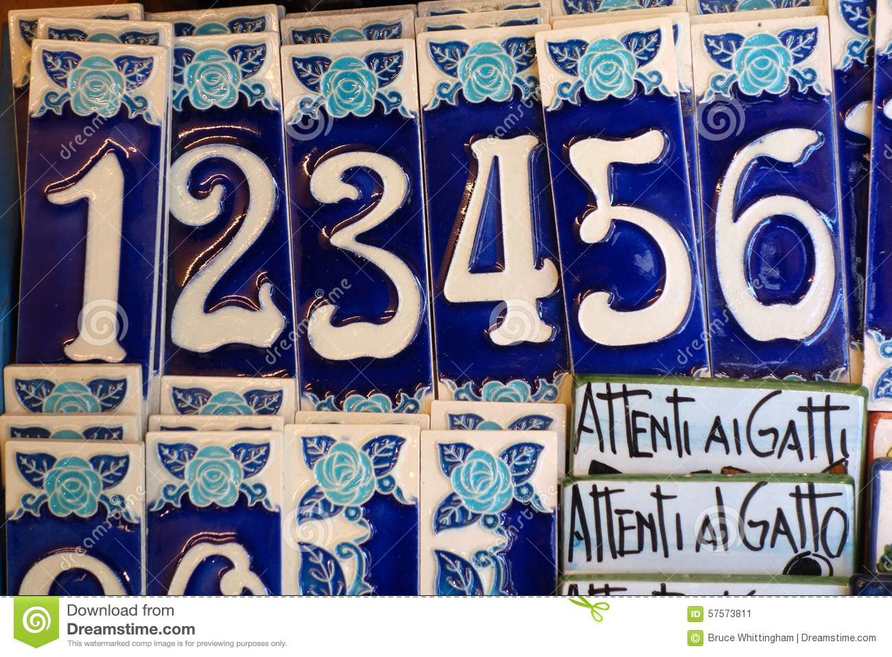 Blue and white ceramic house numbers italy stock image image blue and white ceramic house numbers italy dailygadgetfo Images