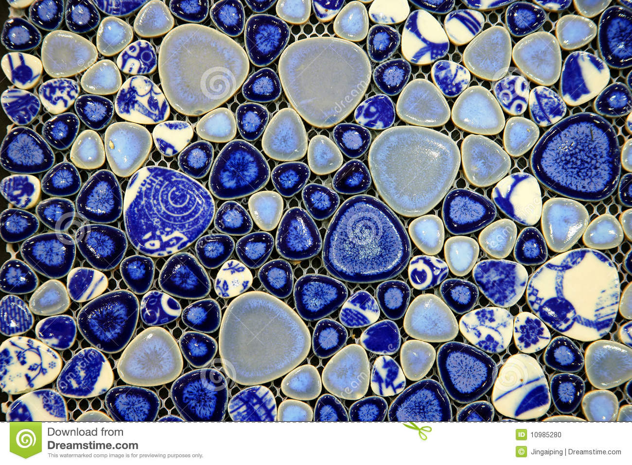 Blue And White Ceramic Tile Stock Photo - Image of pottery, items ...