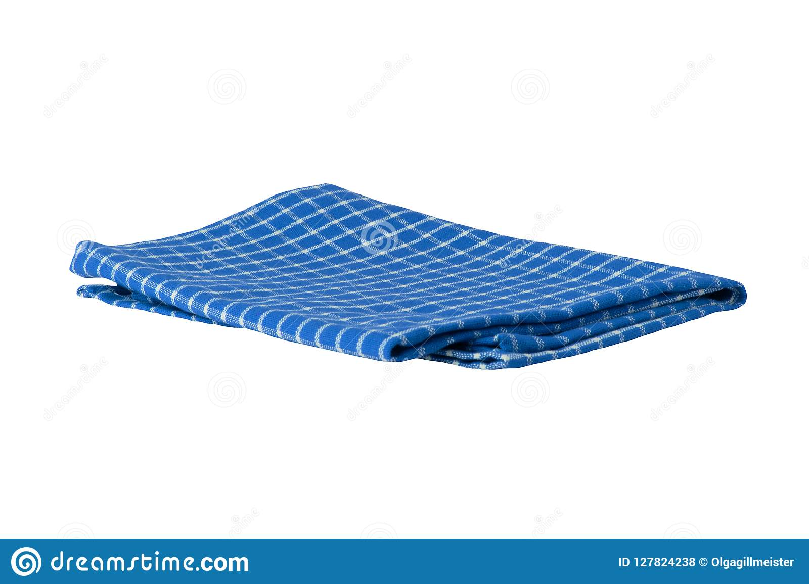 Blue And White Checkered Napkin Isolated On White Background ...