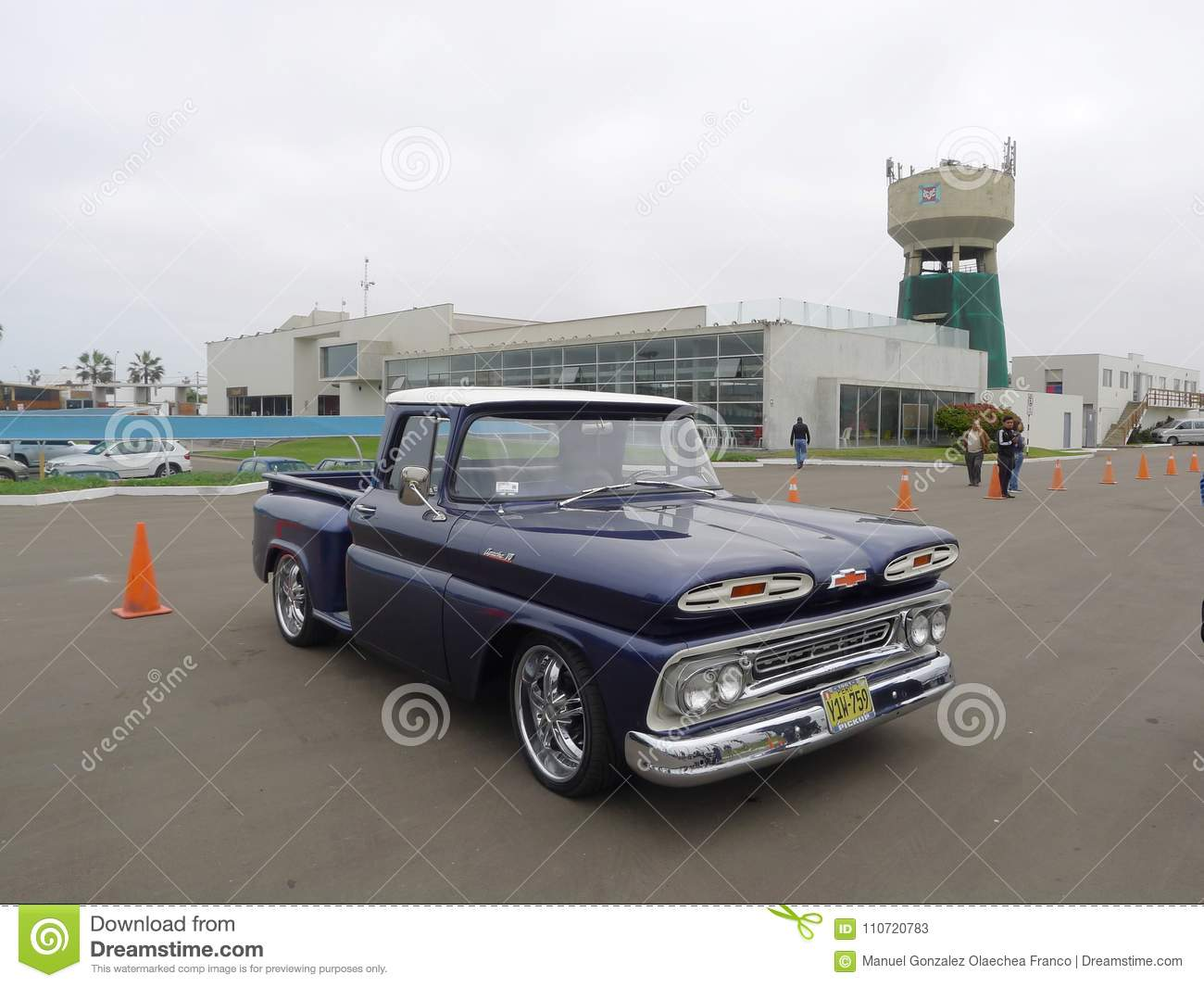 Blue And White Chevrolet Apache Pickup In Lima Editorial Stock Photo 1961 Chevy Truck
