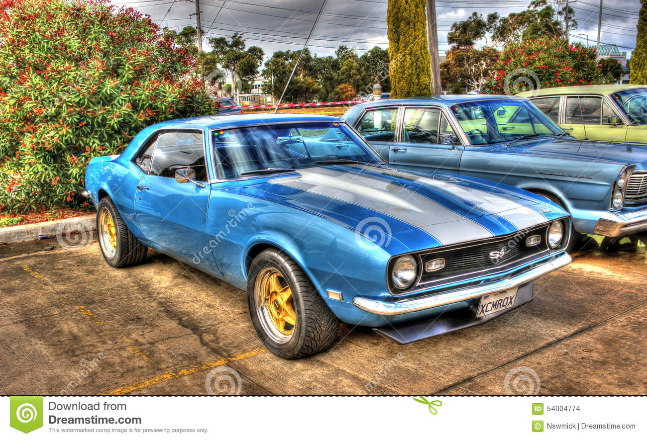 Blue And White Chevy Camaro SS Editorial Stock Image Image Of - American muscle car show