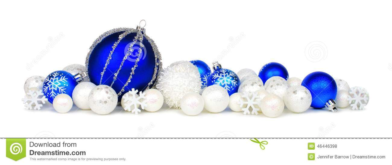 blue and white christmas ornament border stock photo 46446398 megapixl - Blue Christmas Ornaments