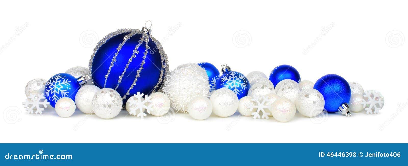 Blue And White Christmas Ornament Border Stock Photo - Image: 46446398
