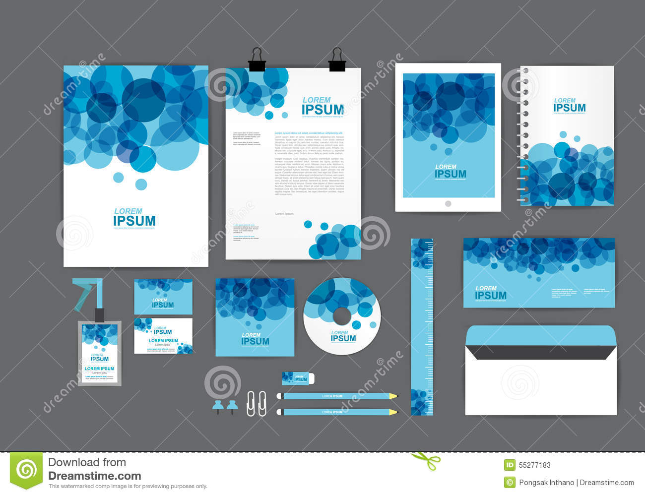 blue and white corporate identity template for your