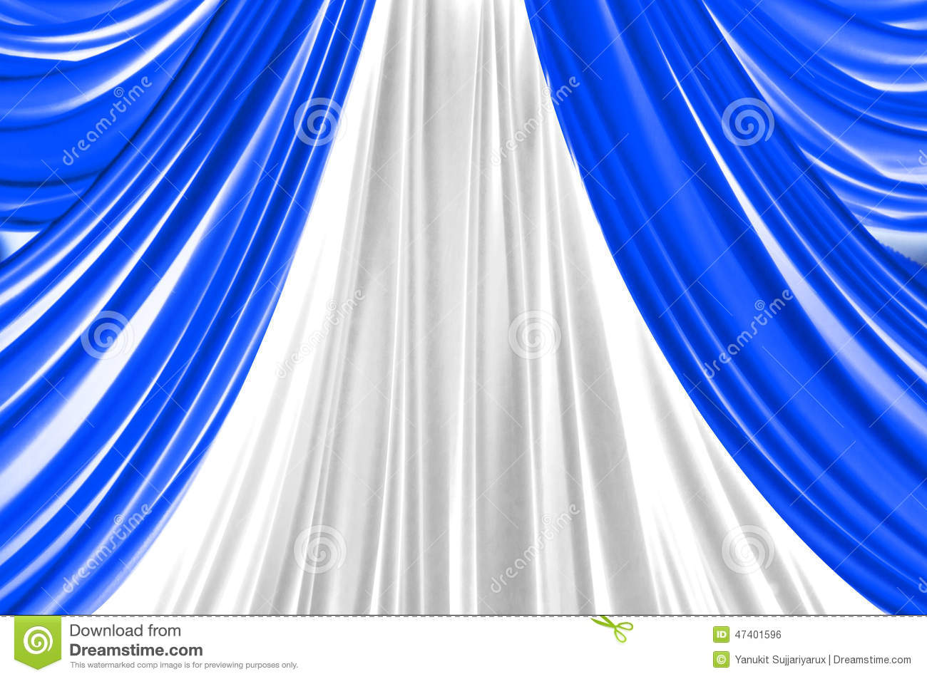 Blue theater curtain isolated on white stock image black models
