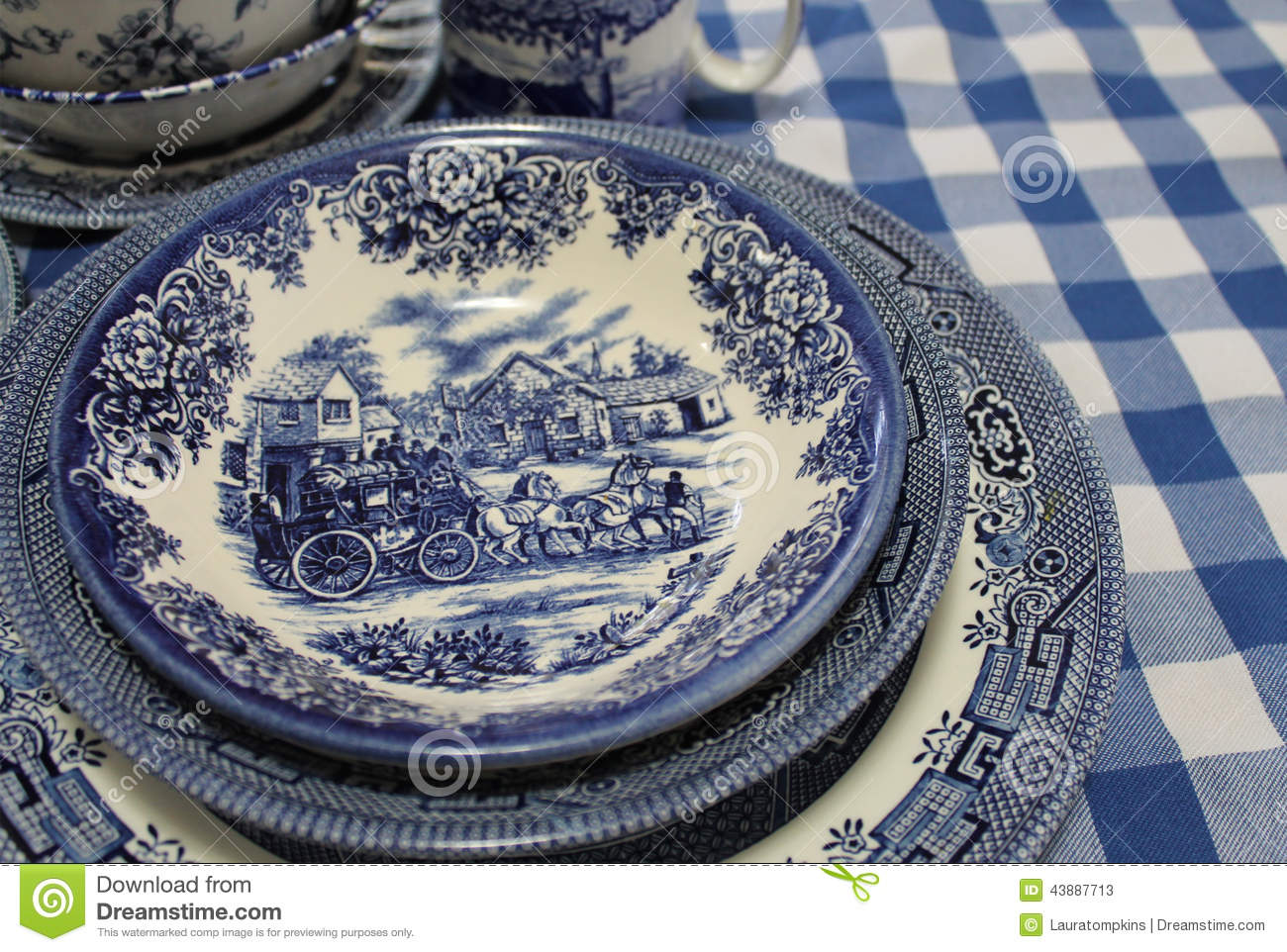 Blue and White English China Dishes Stock Photos & antique blue and white china patterns   My Web Value