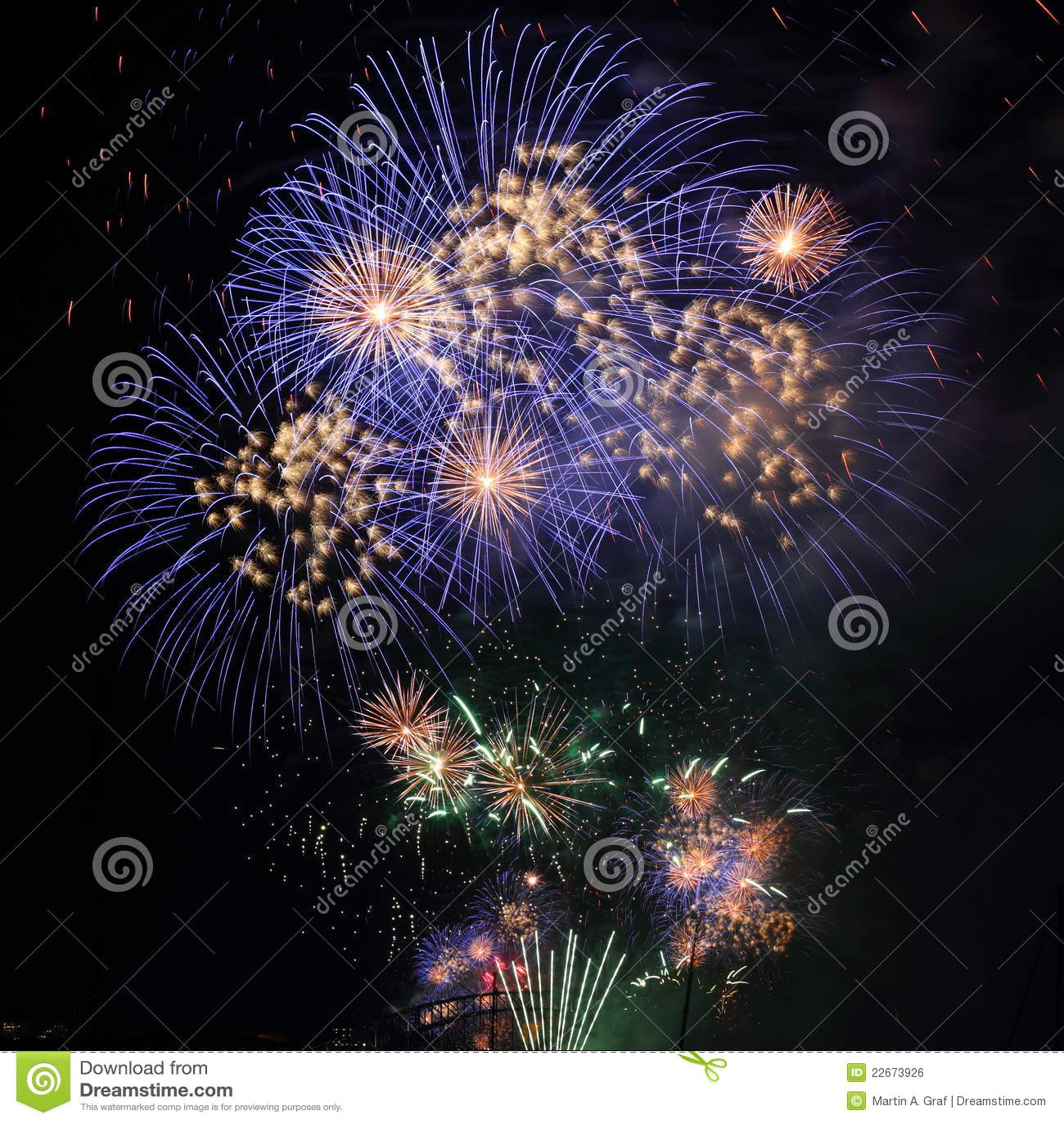 Fireworks blue white in night sky