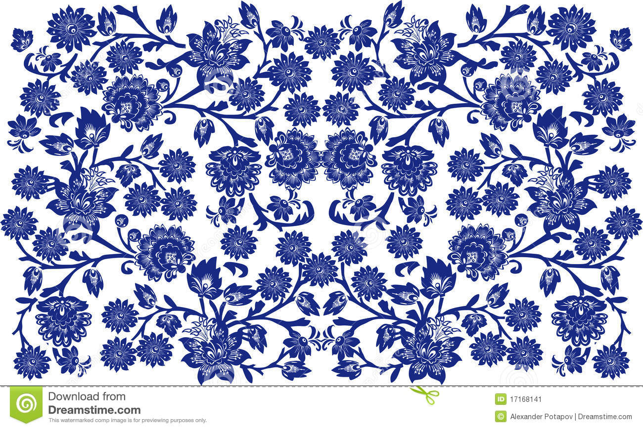 Batik pattern background in vector royalty free stock photos image - Blue On White Floral Background Stock Image Image 17168141