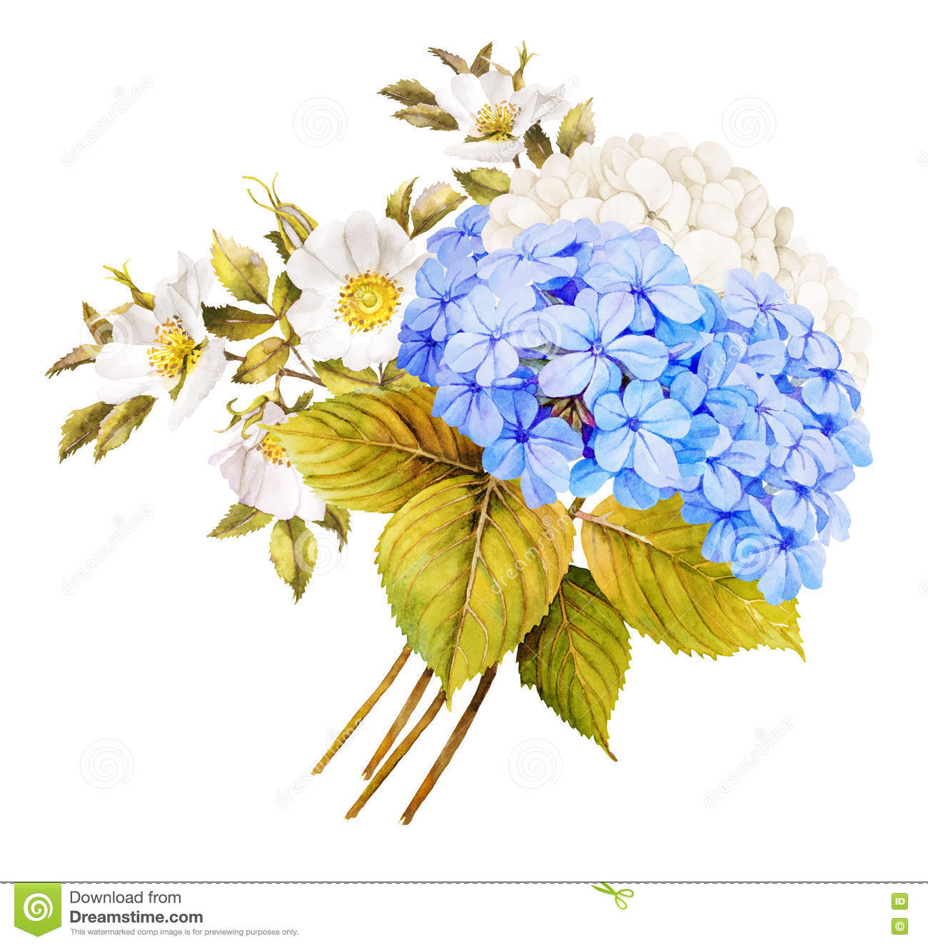 Blue white flower wedding bouquet. Watercolor hydrangea, roses a