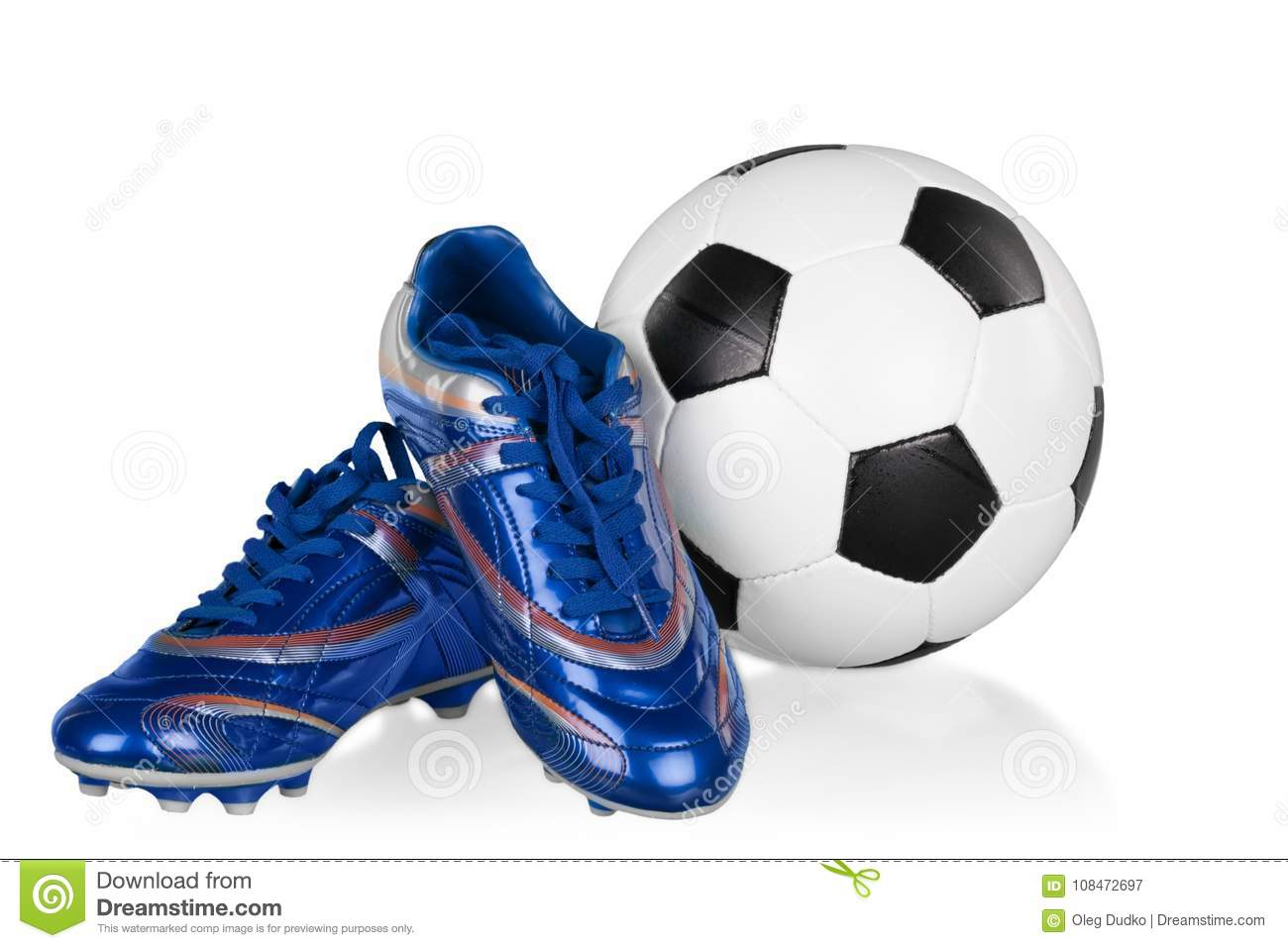 506f06874dc Blue And White Football Shoes And Soccer Ball Stock Image - Image of ...