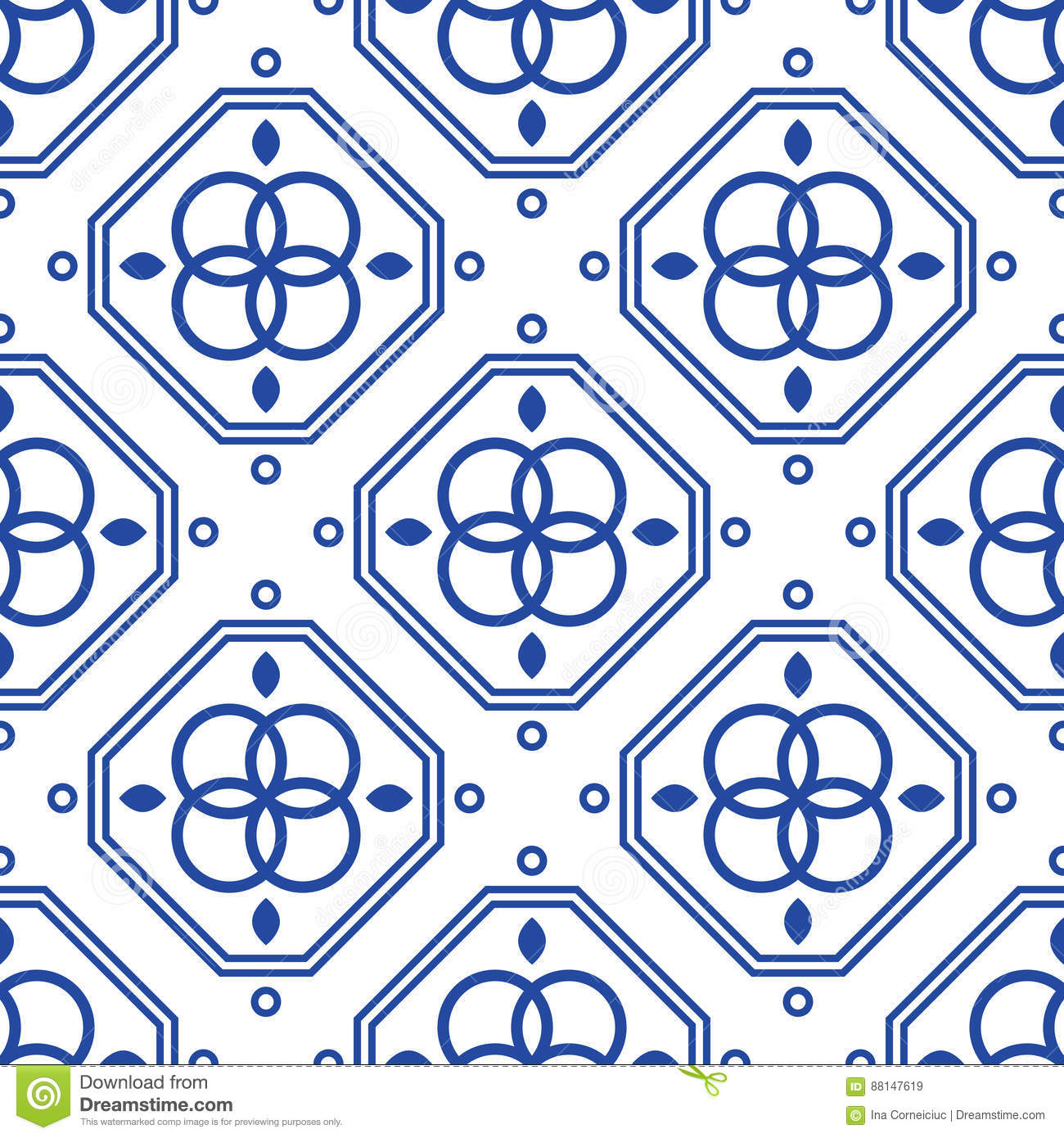 Blue And White Geometric Mediterranean Seamless Tile Pattern. Stock ...