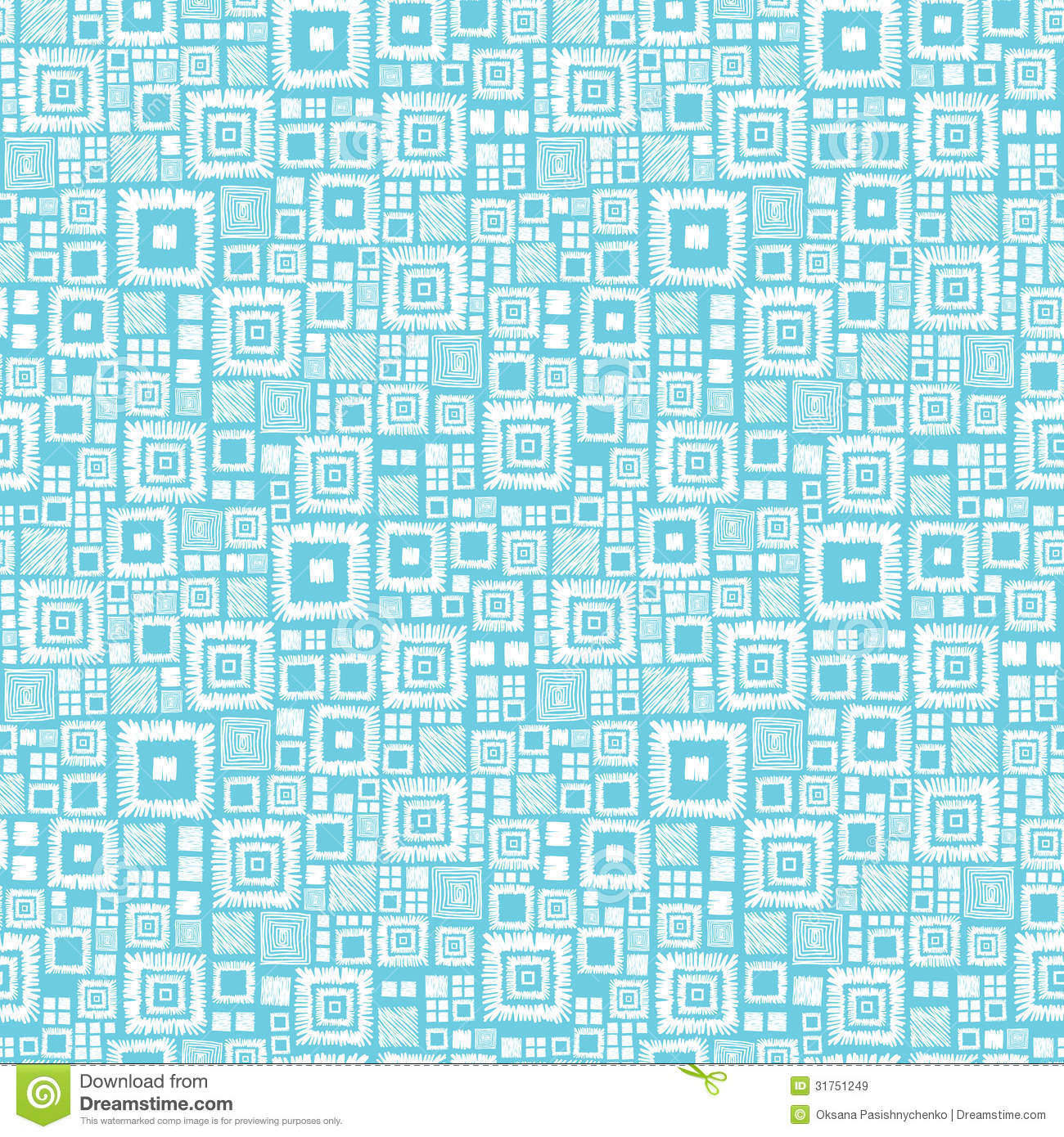 Blue And White Geometric Squares Seamless Pattern