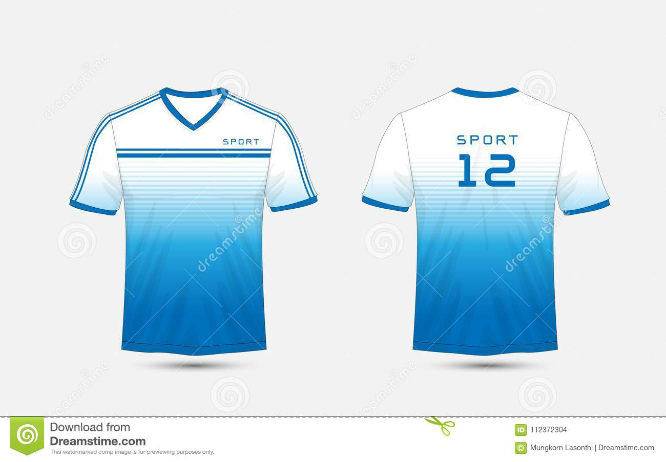 Blue And White Lines Layout Football Sport T Shirt Kits Jersey