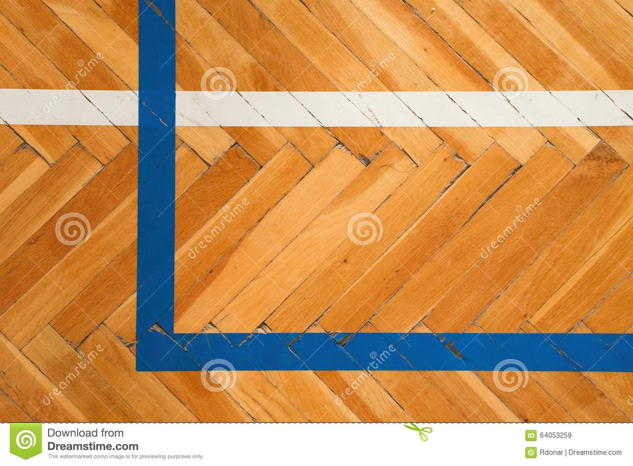 Blue white lines worn out wooden floor of sports hall Worn wood floors