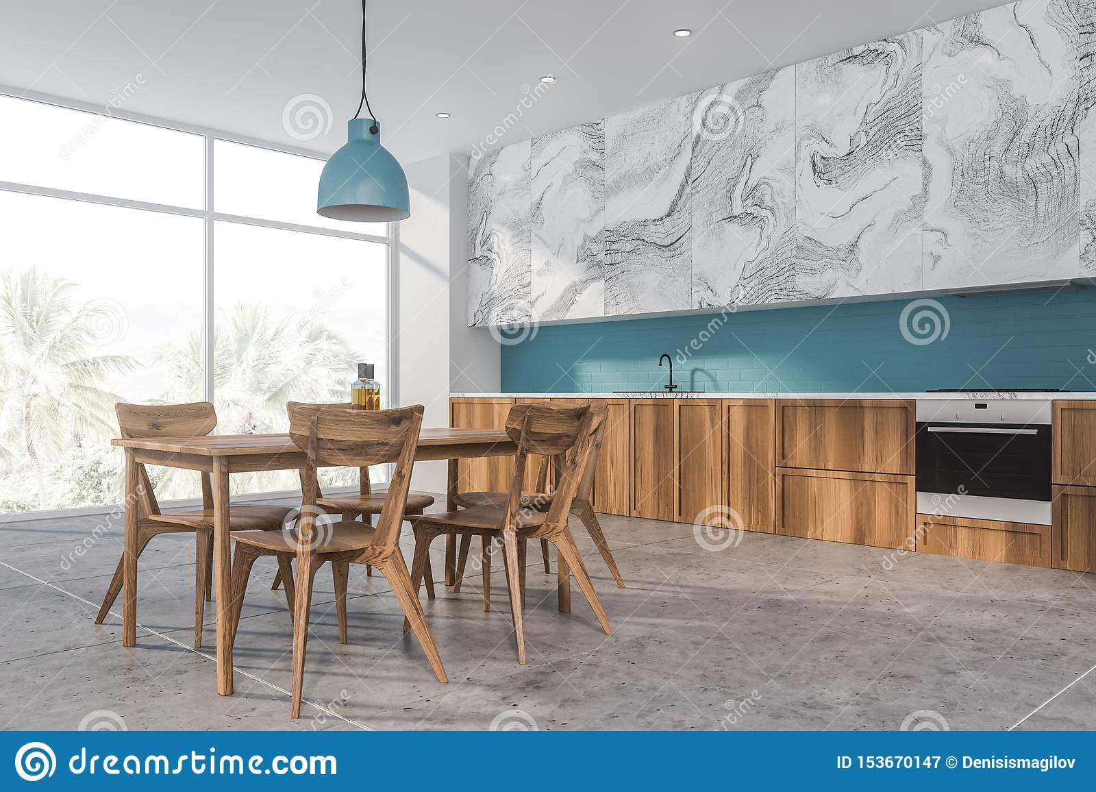 Blue And White Marble Kitchen Corner Stock Illustration Illustration Of Chairs Counter 153670147