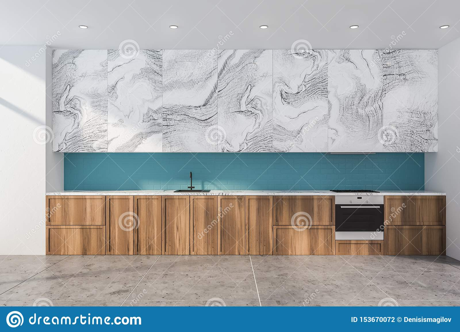 Blue And White Marble Kitchen With Countertops Stock Illustration Illustration Of Modern Home 153670072