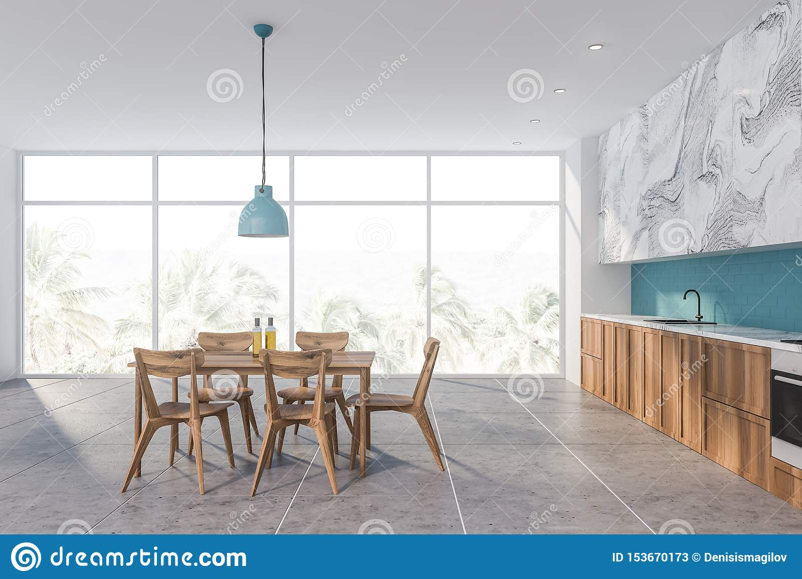 Blue And White Marble Kitchen With Table Stock Illustration Illustration Of Comfortable Blue 153670173