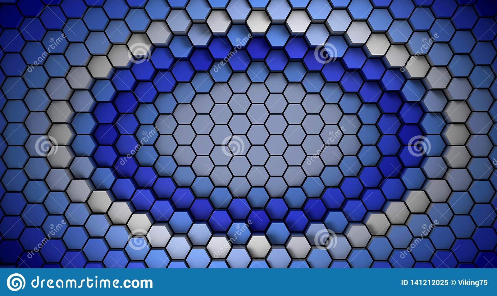 Blue and white material hexagons background template. 3d Render