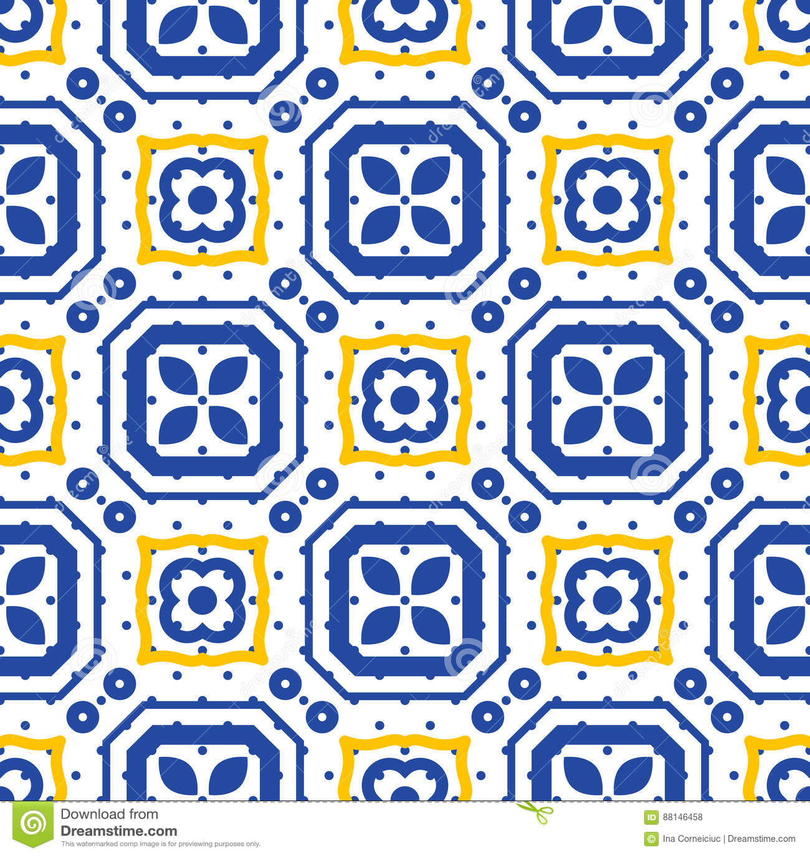 Blue and white mediterranean seamless ceramic tile pattern.