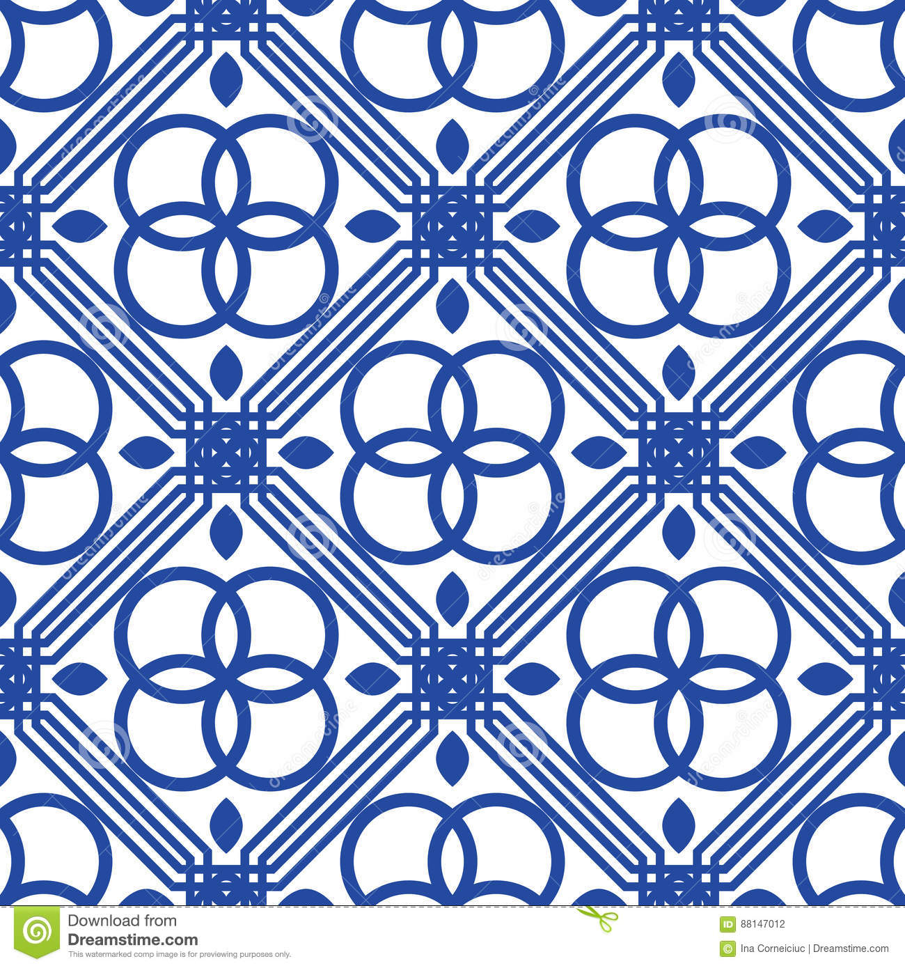 Blue And White Mediterranean Seamless Tile Pattern. Stock Vector ...