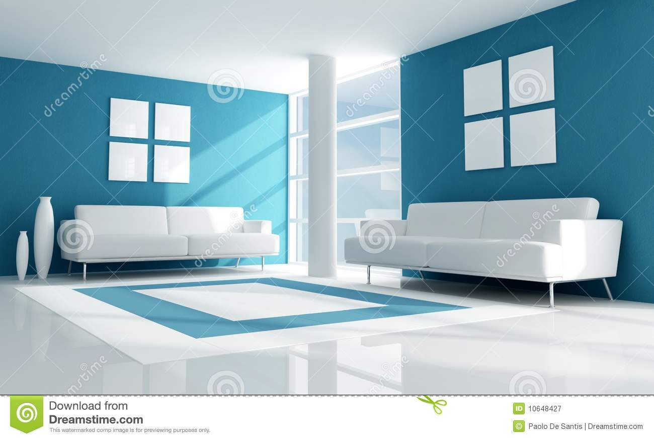 Blue And White Modern Living Room Royalty Free Stock